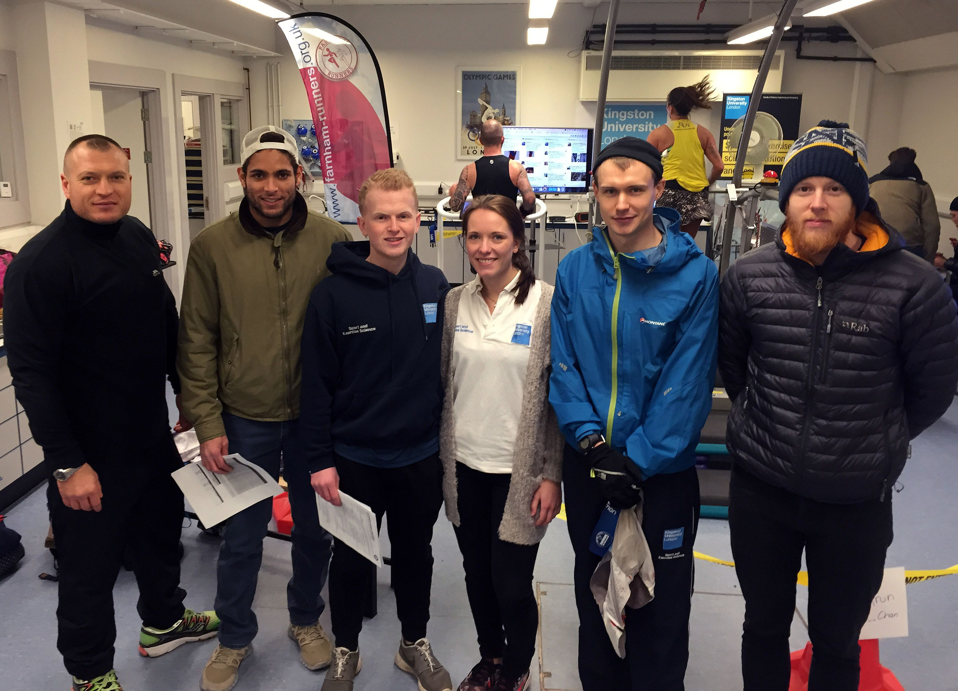 The mid-morning crew of sport science and nutrition students, who acted as timekeepers and witnesses throughout the challenge. http://www.kingston.ac.uk/news/article/1609/30-jan-2016-ultra-runner-susie-chan-sets-new-12hour-treadmill-world-record-at-kingston-university/
