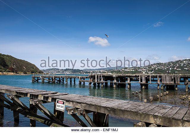 Abandoned Jetty  www.alamy.com Bleinheim Wharf in Wellington, New Zealand. - Stock Image