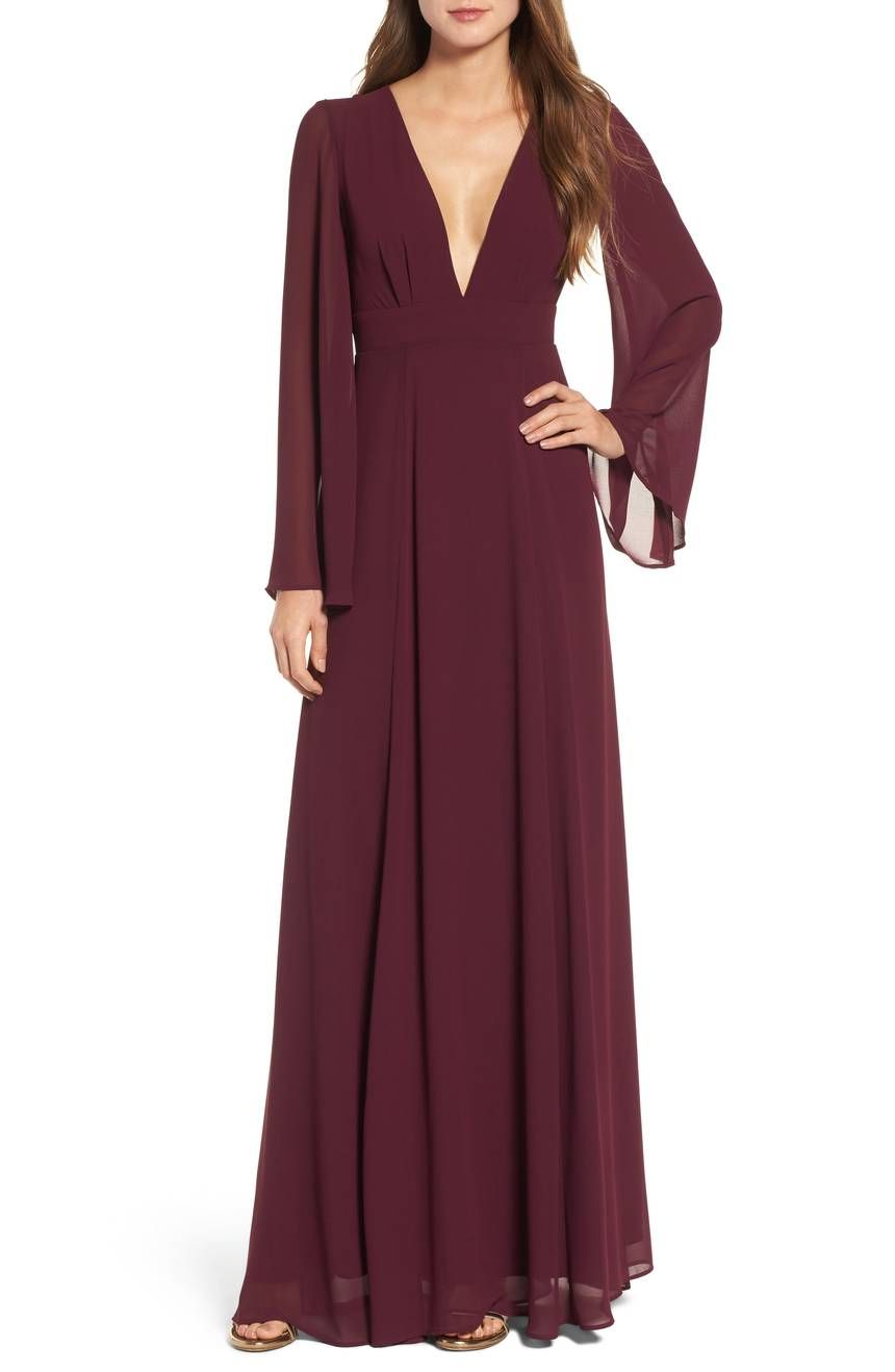 Long sleeved bridesmaid dress plunging vneck bridesmaids dresses