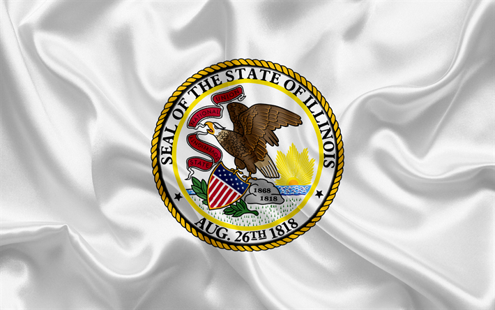Download Wallpapers Illinois Flag Flags Of States Flag State Of Illinois Usa State Illinois White Silk Flag Illinois Coat Of Arms Besthqwallpapers Com Illinois Coat Of Arms Flag