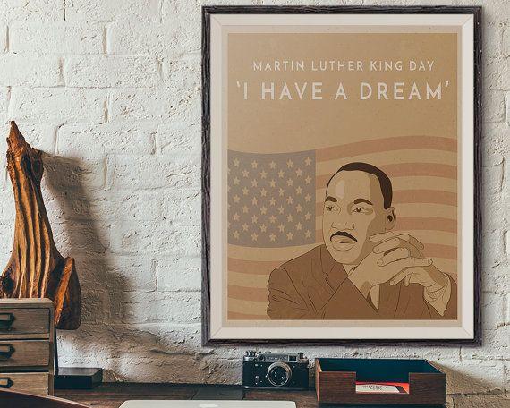 Martin Luther King Wall Art Print, MLK Jr Quote, MLK Retro Poster Print, Mlk Jr Day, African American History, Vintage Poster Wall Art Print