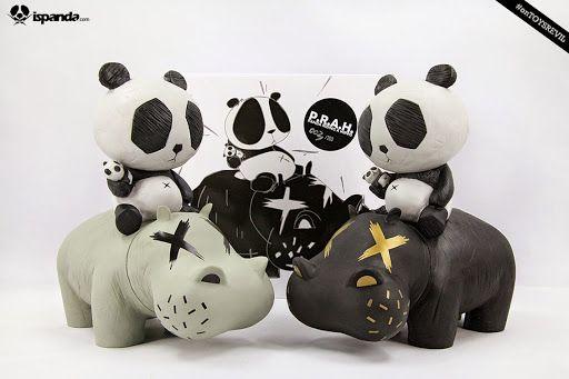 cacooca Panda Riding A Hippo: In Black & Gray