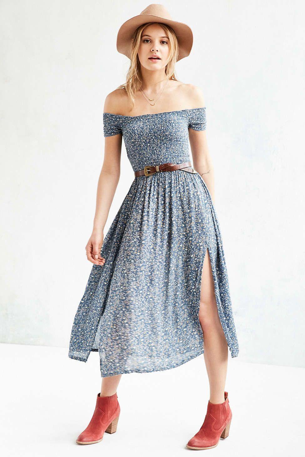 Kimchi Blue Picnic Smocked Off-The-Shoulder Midi Dress | dress up ...