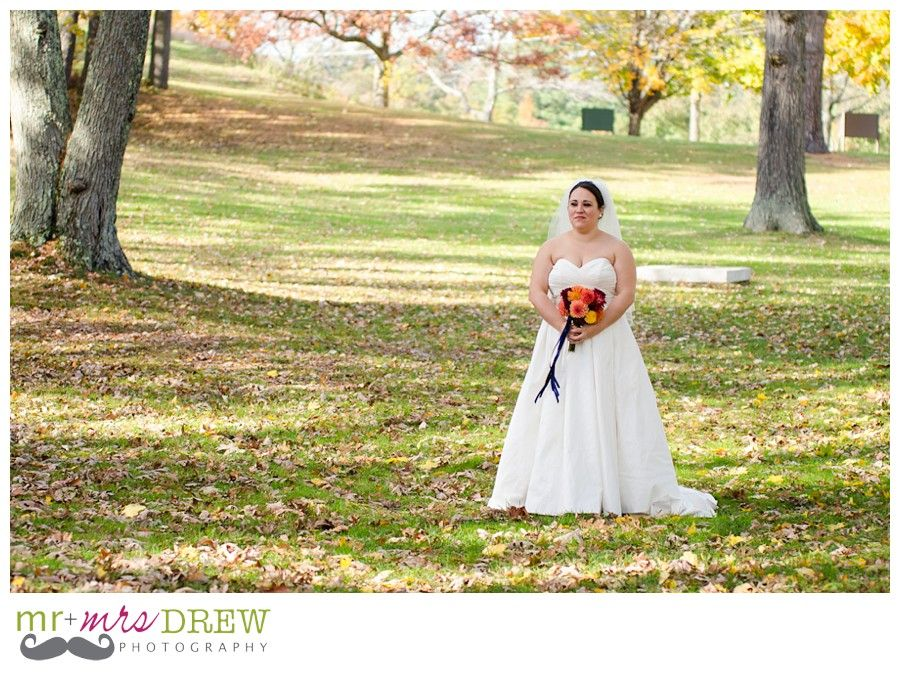First Look. At sweetheart monument in Ayer. Devens Common Center Wedding. photography by www.mrdrewphotography.com