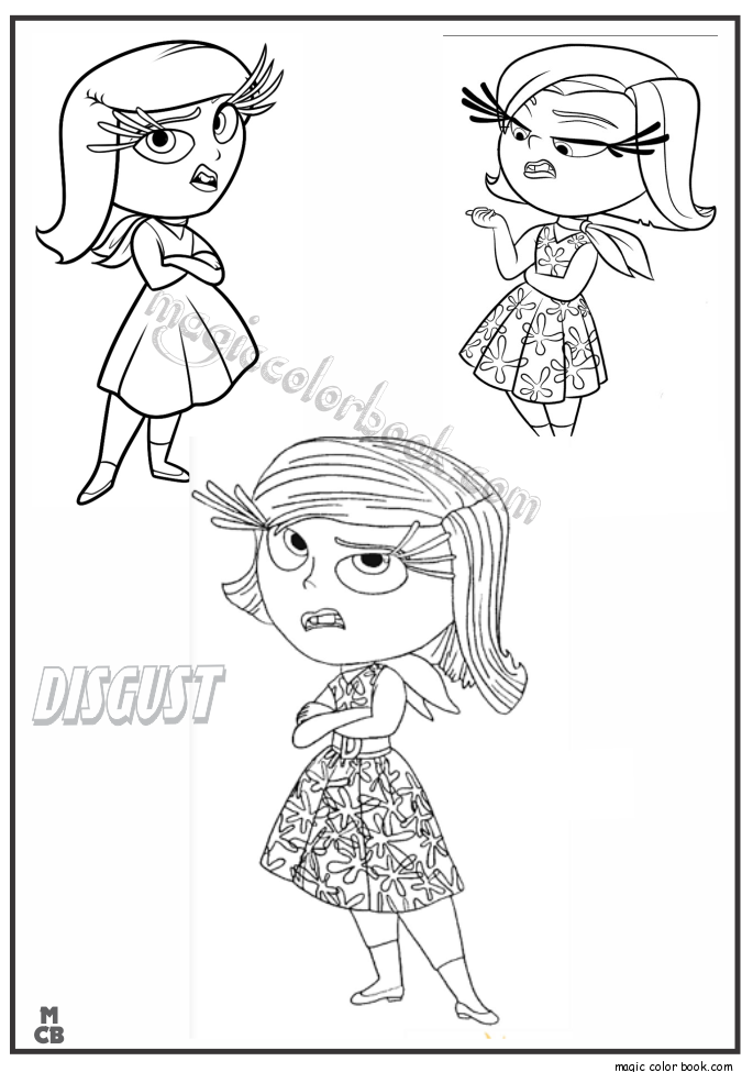 Inside Out Coloring Pages Free Printable Disgust 30