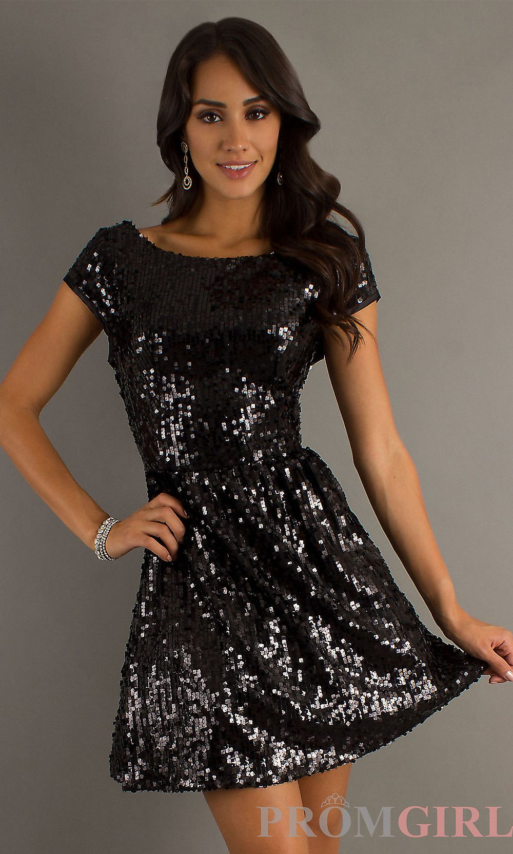 Black Short Sequin Cocktail Dresses with Cap Sleeves- PromGirl ...