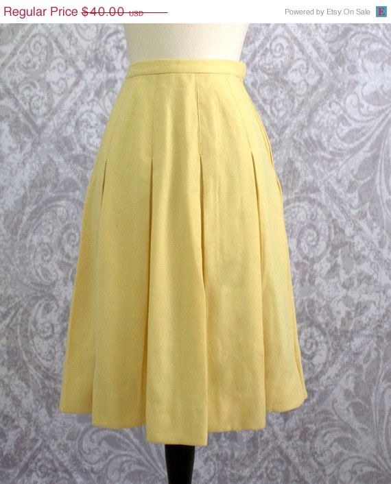 1960s Yellow Box Pleated Wool Skirt $32.00