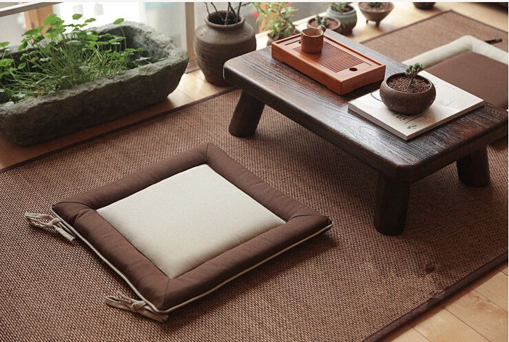 Korean Floor Pillows : (4pcs/lot)Floor Seating Oriental Zen Zabuton Cushion Square 43cm Japanese Style Meditation ...