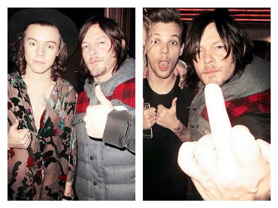 Reedus with Harry Styles and Louis Tomlinson