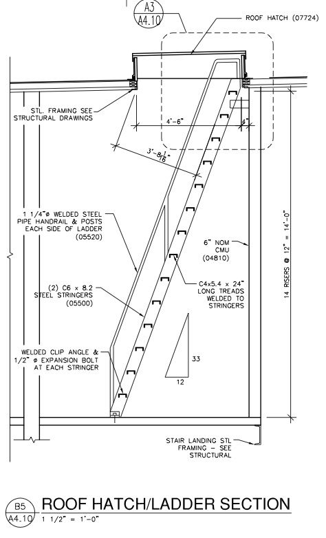 Ship's Ladder Roof Access | Diagrams, Drawings & Models in