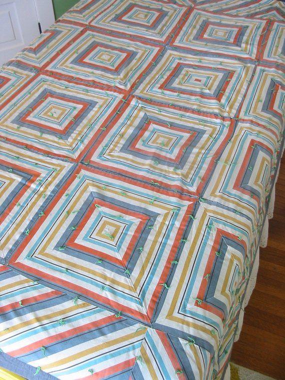 Vintage Squares Quilt Striped Quilt Vintage Bedspread