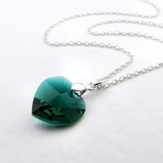 Emerald heart necklace green swarovski elements crystal emerald emerald heart necklace green swarovski elements crystal emerald pendant on sterling silver chain green crystal pendant emerald birthstone aloadofball Images