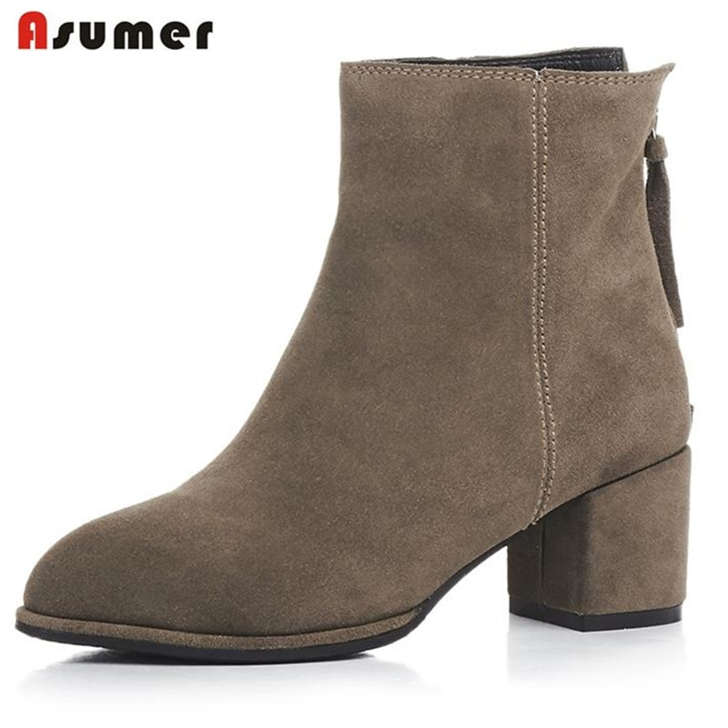 93.00$  Buy here - http://alih4u.worldwells.pw/go.php?t=32774354037 - Asumer Cow suede leather boots women shoes solid zipper ankle boots fashion elegant work autumn boots med heels