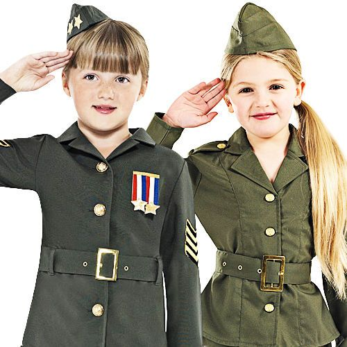 fc15dc33b29 WW2 Army Uniform + Hat Girls Fancy Dress 1940s Military Childrens Kids  Costumes