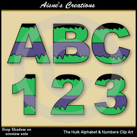 The Hulk (Avengers) Alphabet Letters & Numbers Clip Art Graphics ...