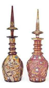 TWO LARGE ENAMELED GUT GLASS DECANTERS late 1800s