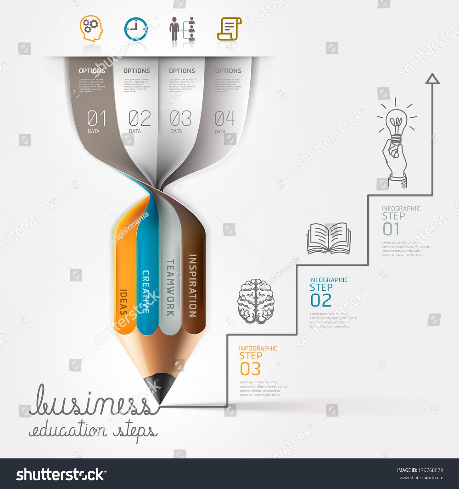 Business education pencil Infographics step option. Vector illustration. can be used for workflow layout, banner, diagram, number options, step up options, web design. ,