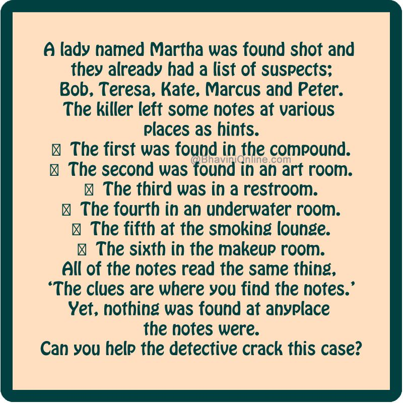 Murder Mystery: Find Who Killed Martha From the Given Hints