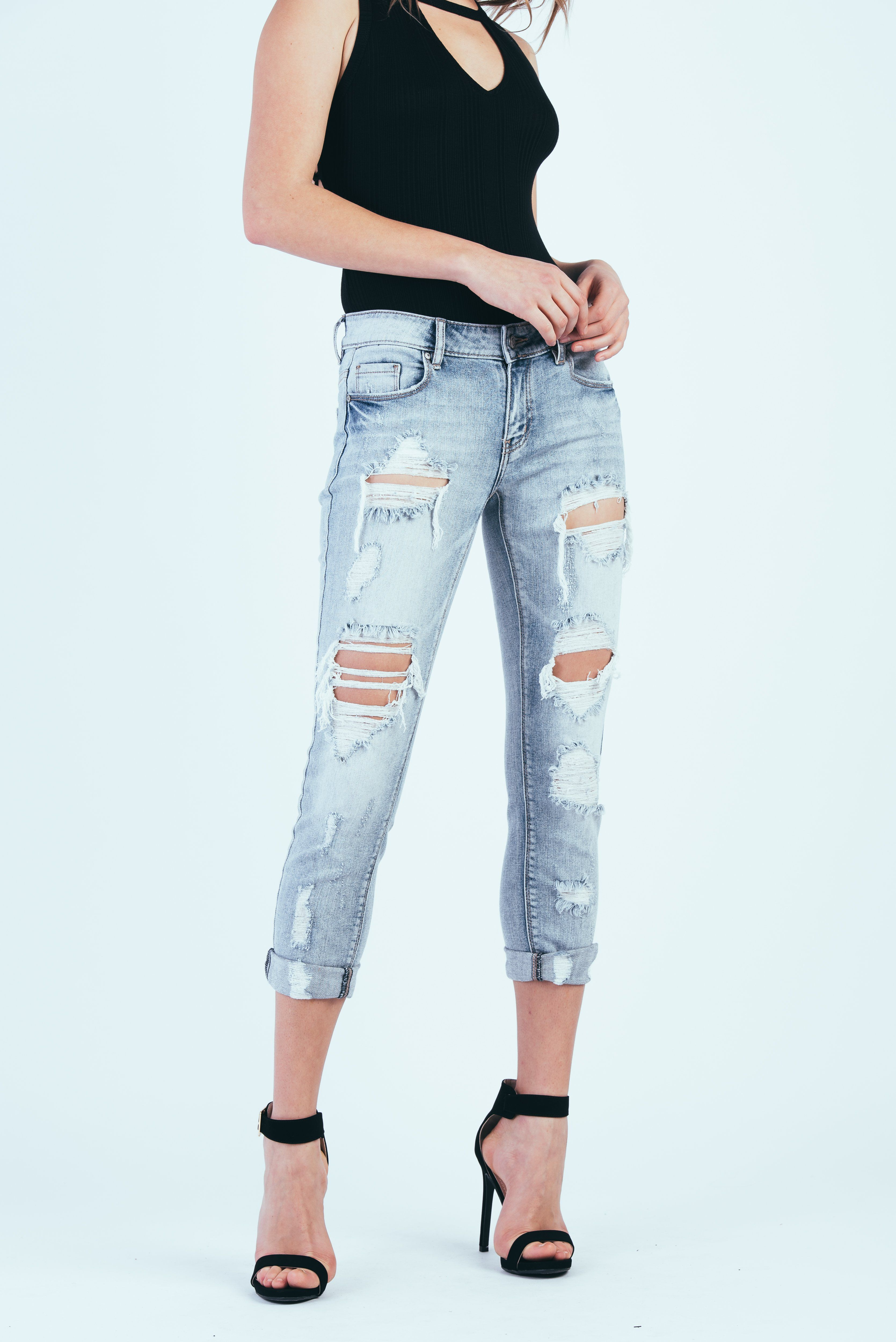 e2c938e43a6834 Frankie Mid Rise Distressed Boyfriend Jeans in 2019