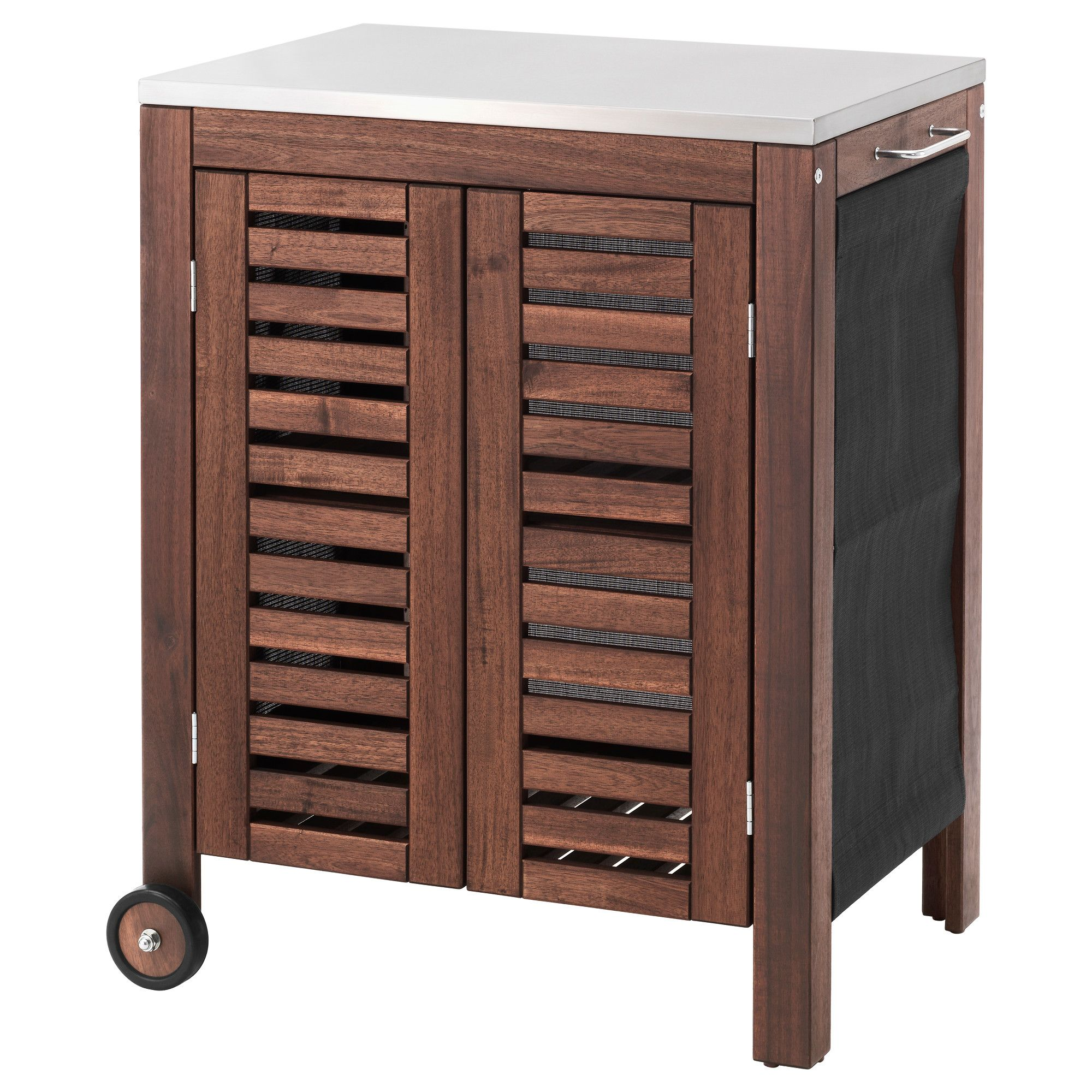 Applaro Klasen Storage Cabinet Outdoor Brown Stained Stainless Steel Color Ikea Ikea Applaro Ikea Wandpaneele
