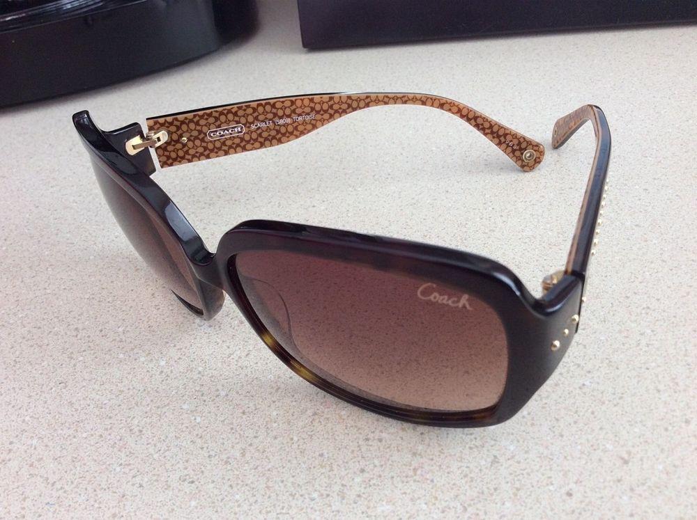 dbbd66526f ... purchase coach s809 scarlet brown tortoise gold logo heart studded  gradient sunglasses b44b2 547ca