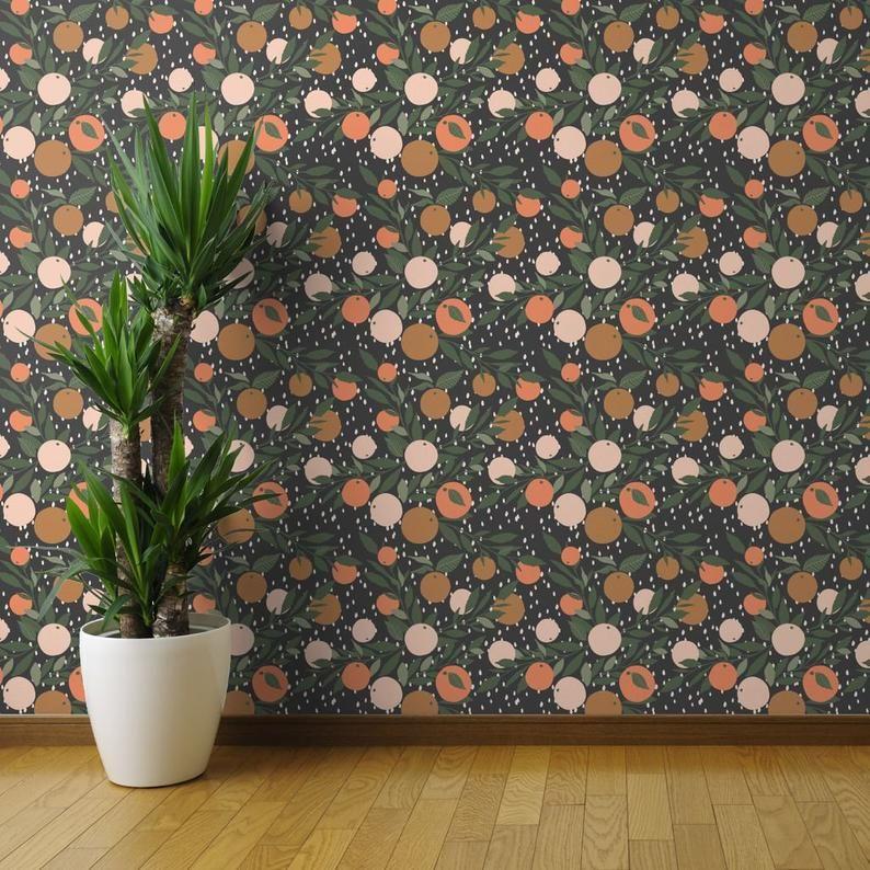 Citrus Fruit Wallpaper Tangerine Rain Jumbo By Etsy Fruit Wallpaper Wallpaper Roll Banana Leaf Wallpaper