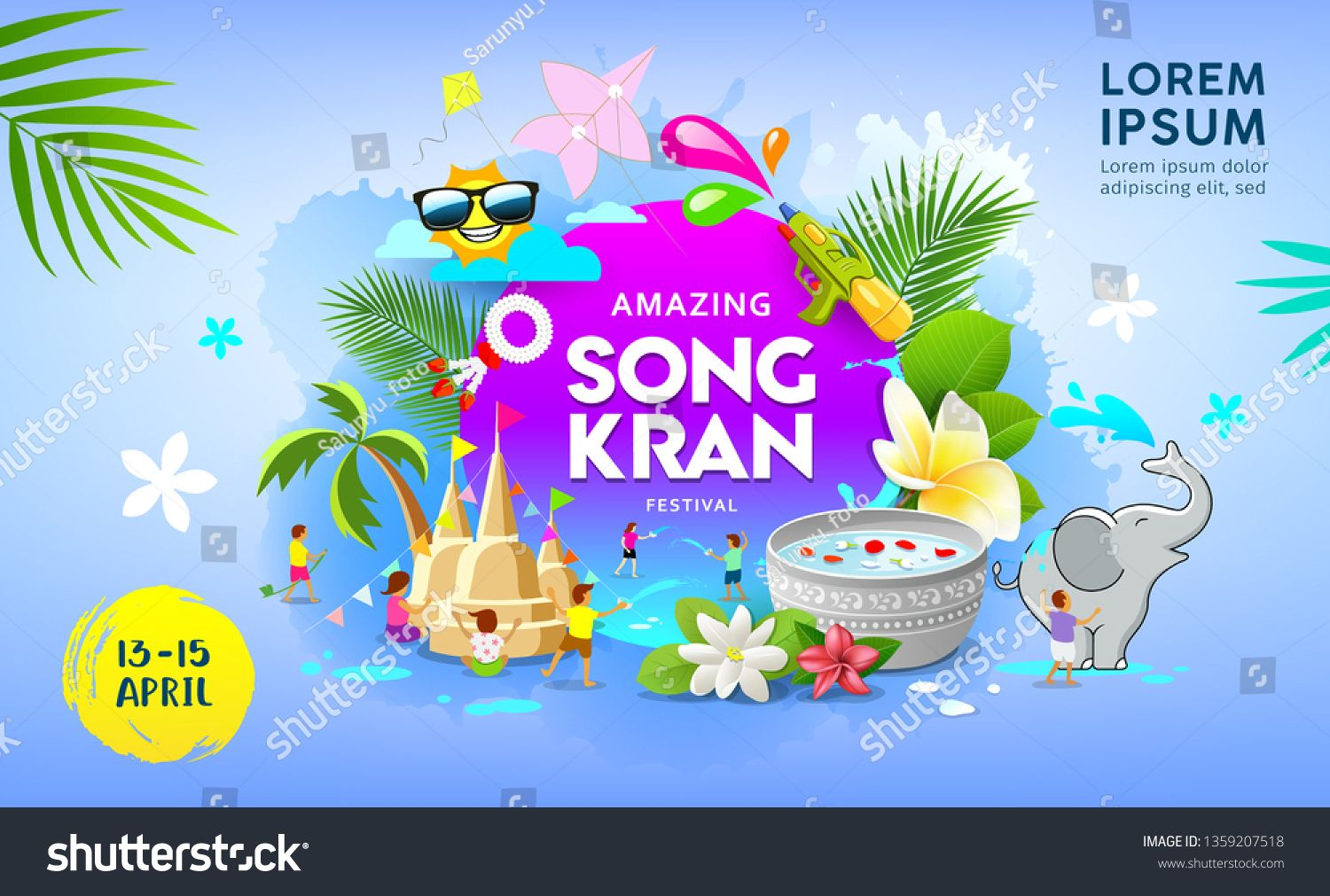 Happy Amazing Songkran Festival Summer Of Thailand Vector On Blue