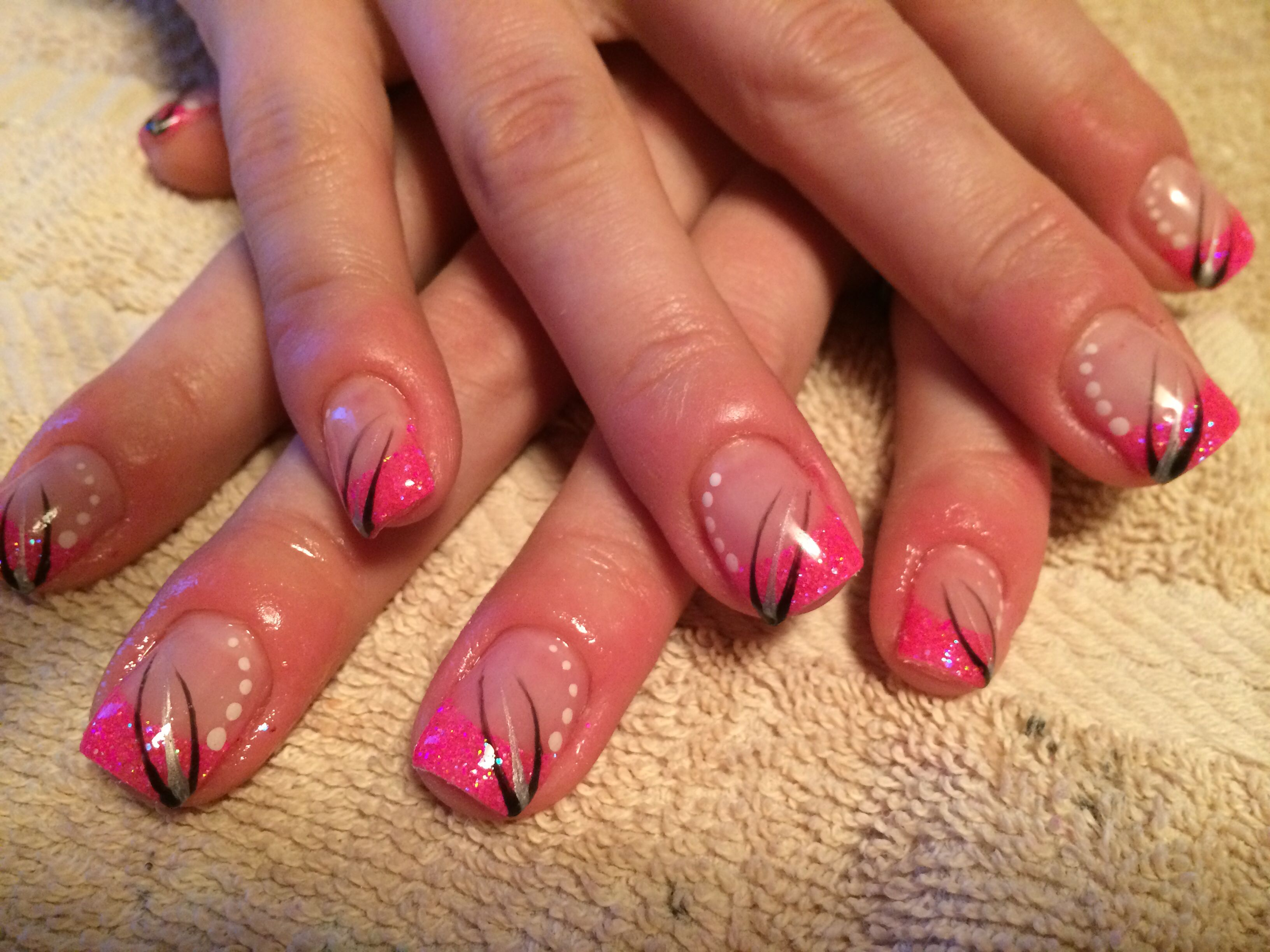 Sparkly pink neon nails with black and white design | nails ...