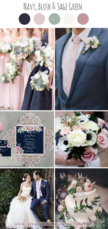 classic navy,blush pink and sage green wedding color palettes | Lindsay's  kick ass wedding | Boda, Boda temática rústica, Colores para boda
