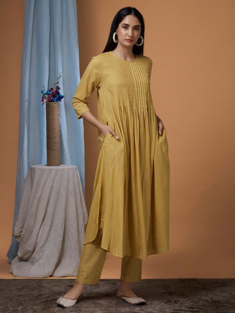 282f61e383 Buy Yellow Cotton Kurta with Pants - Set of 2 online at Theloom