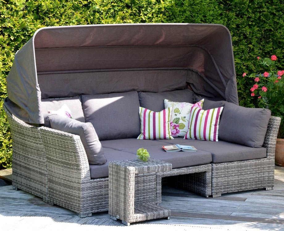 polyrattan gartenm bel sonnenliege lounge ibiza l mit dach. Black Bedroom Furniture Sets. Home Design Ideas