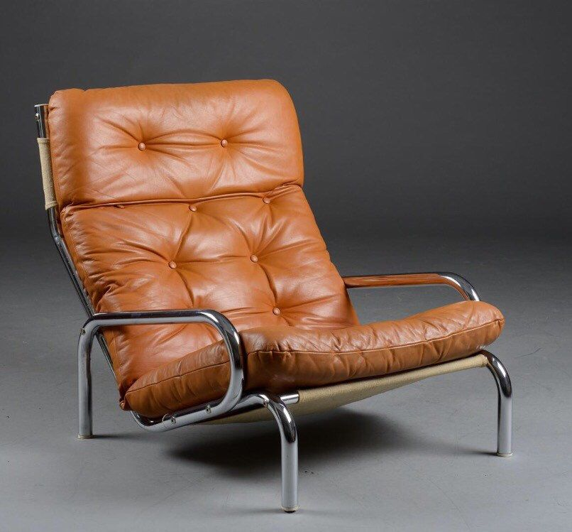Swedish Vintage Low Leather Lounge Chair / Arm Chair With Chrome Frame By  ScandinavianLove On Etsy