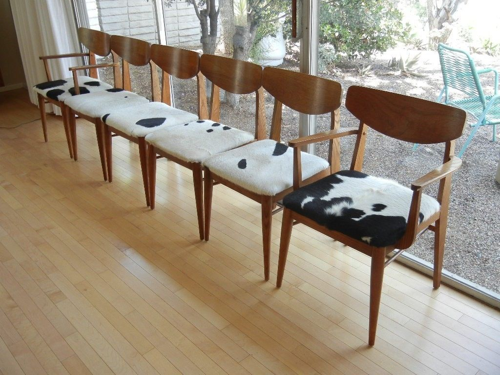 Set of Six 6 Mid-Century Modern Dining Chairs Cowhide Stanley Bent ...