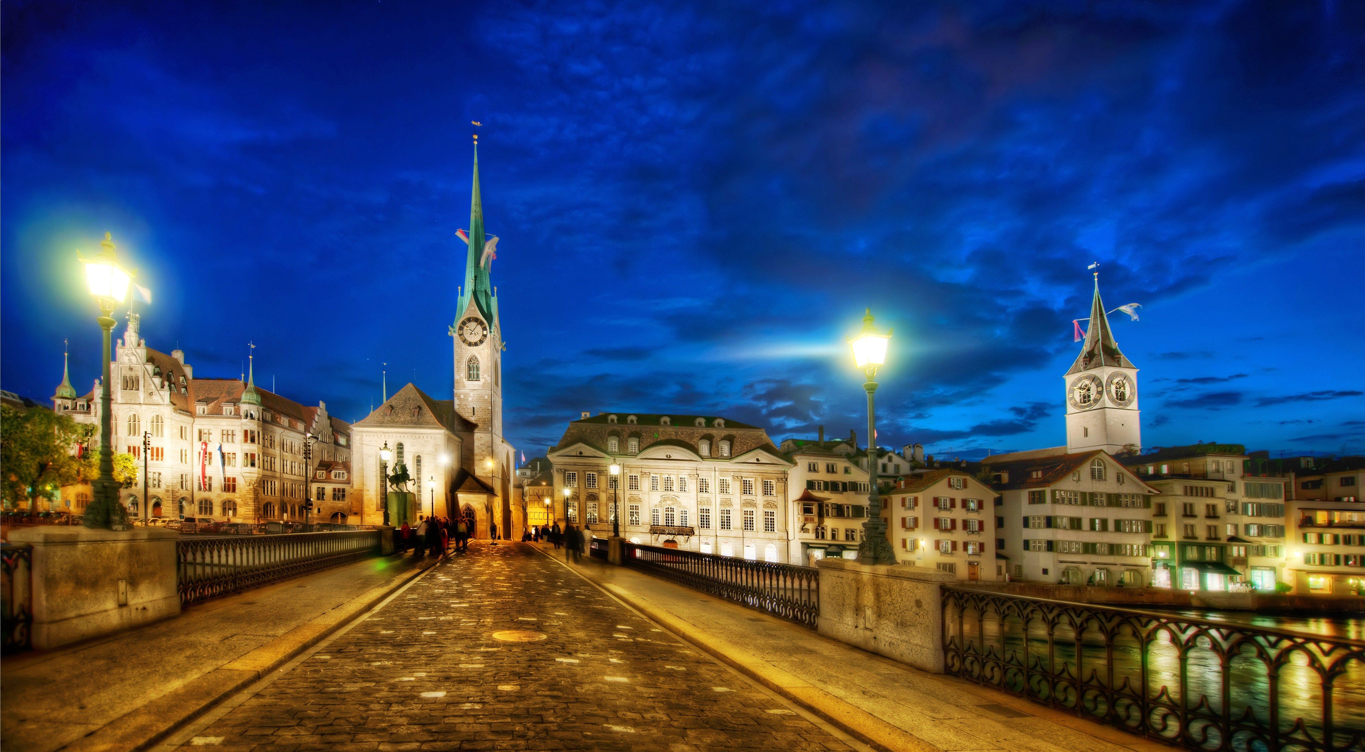 Zurich At Night, Switzerland