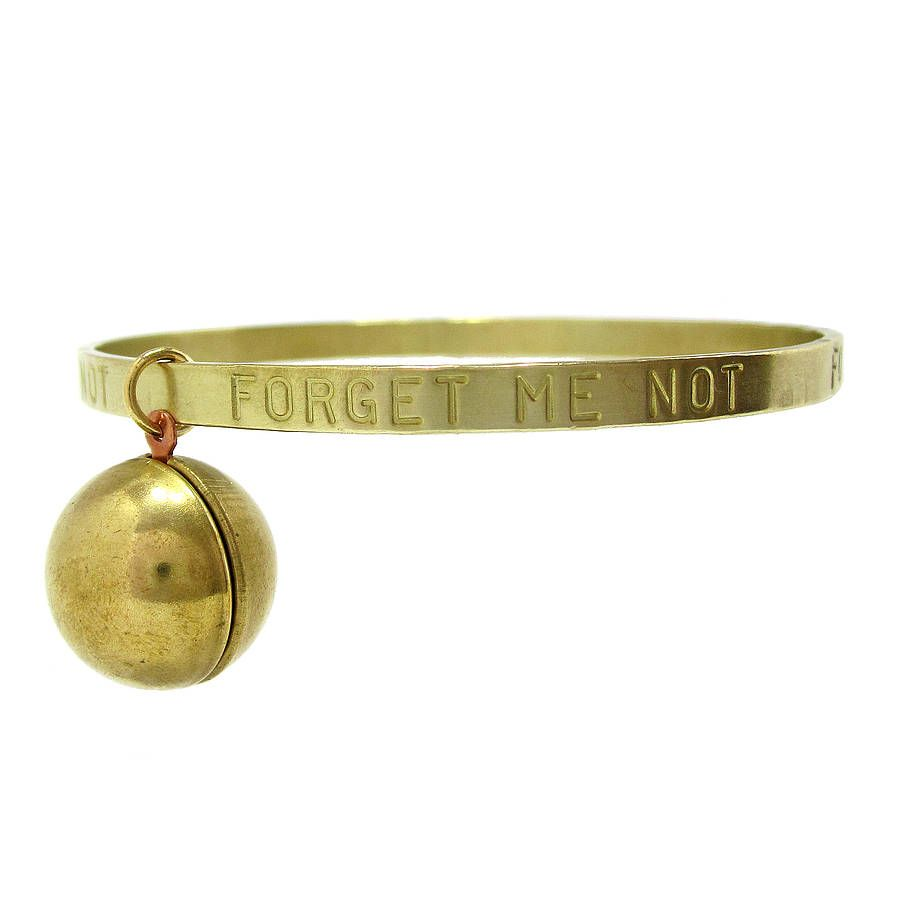 Forget Me Not Stamped Bangle With Locket  <3