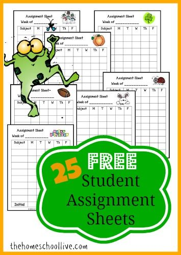 Free Printable Homework Charts Student Assignment Sheets