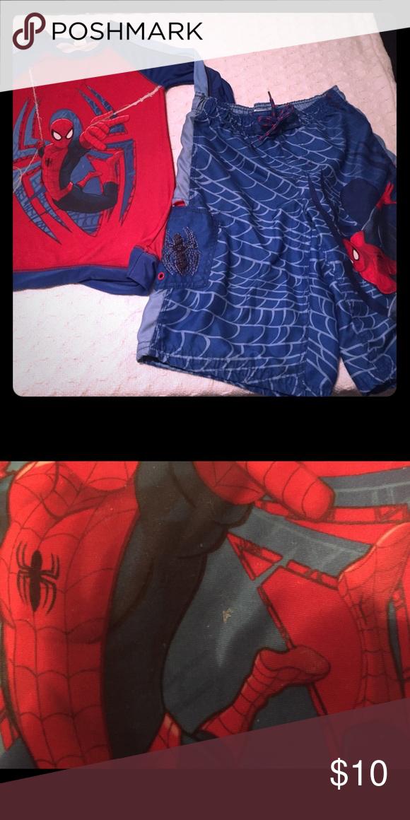 Spider-Man Bathing suit & swim top Gently used, bathing suit and matching swim shirt from Disney, slight snag on shirt, see pic 2 Disney Swim #mensbathingsuits