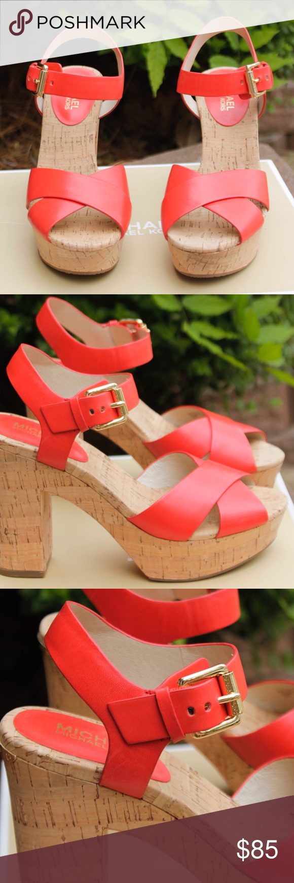 Coral Red Michael Kors Heels / Sandals Red Michael Kors buckled sandals! Cork heels, gold accents. Worn once. Super cute for summer! Size 7 Michael Kors Shoes Heels