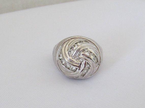 Vintage Modernist Sterling Silver Faceted Citrine Dome Ring Size 9
