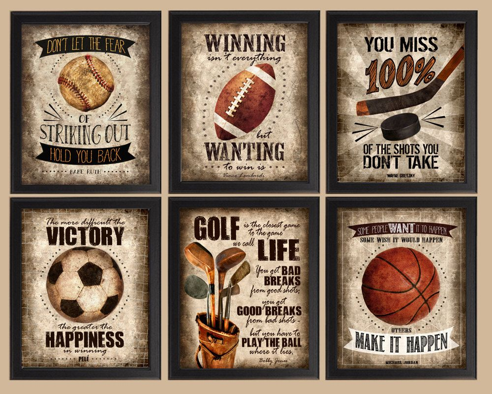 Famous Sports Quotes Set of 6 photo prints Poster by
