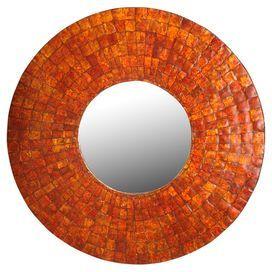 Theia Capiz Wall Mirror in Orange