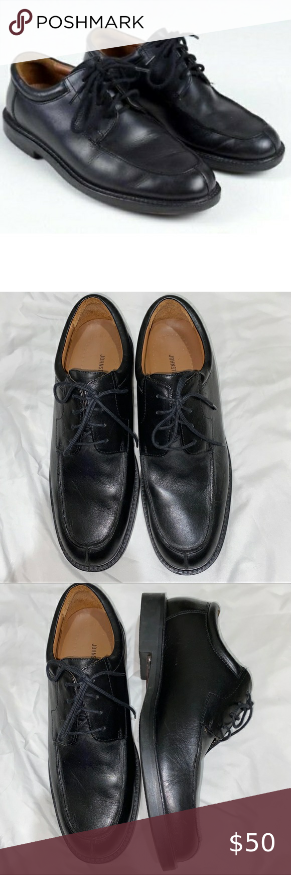 Johnston Murphy Black Leather Dress Lace Up Shoe Black Leather Dress Shoes Lace Up Shoes Business Casual Shoes [ 1740 x 580 Pixel ]