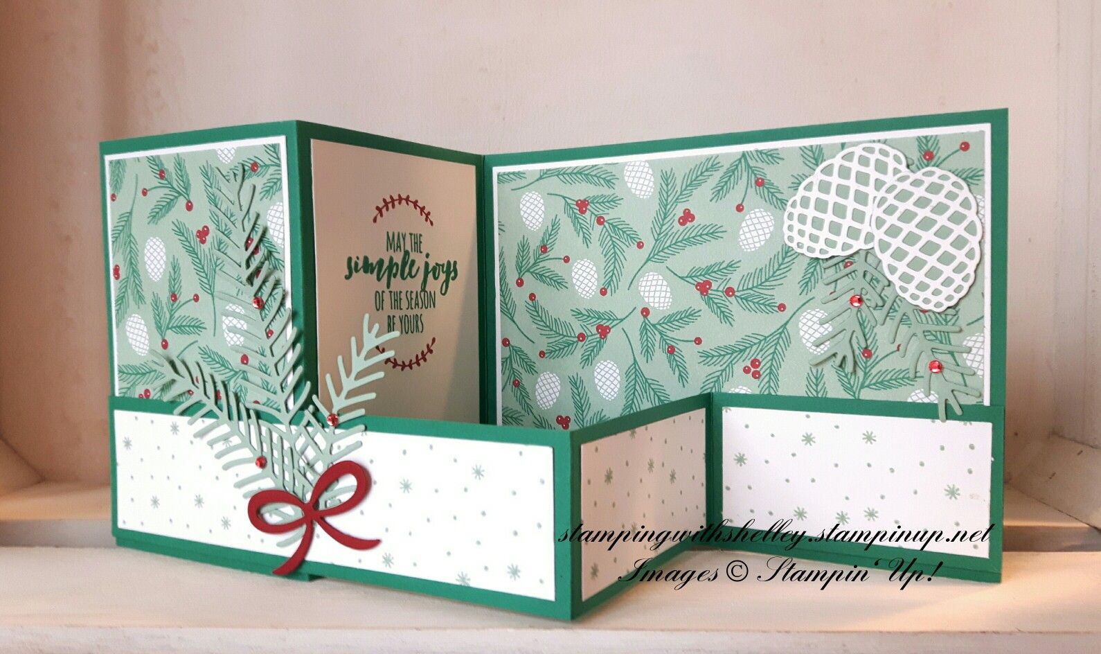 Stampin Up Christmas Pines Bundle Double Z Fold Card By Stamping With Shelley Stamping Up Cards Fancy Fold Cards Cards Handmade