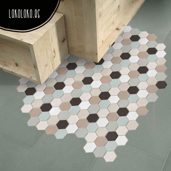 Suelo de patr n cer mico hexagonal 2 suelos de cocina - Suelo vinilo adhesivo ...