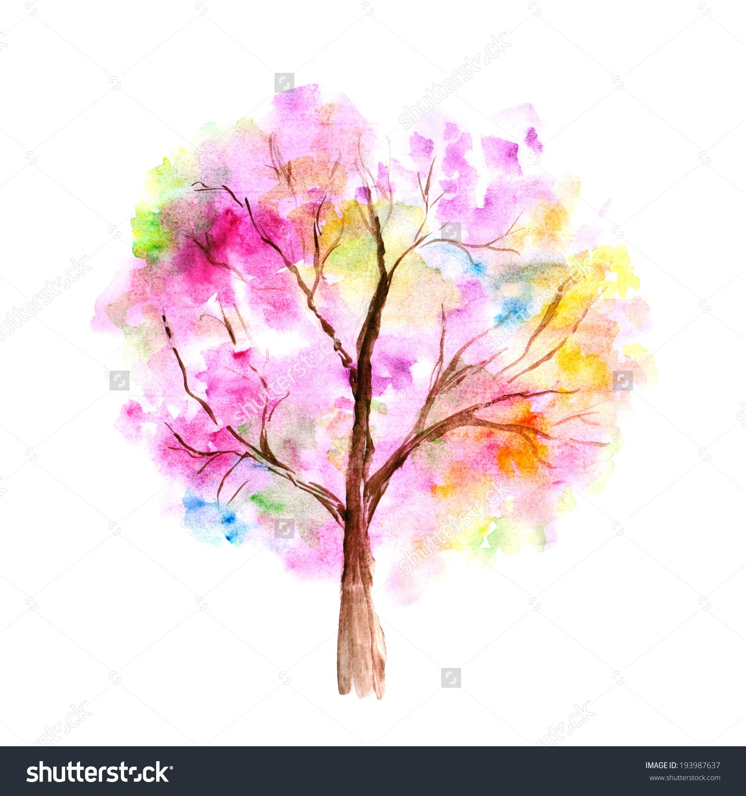 Stock Photo Colorful Watercolor Tree Background 193987637 Jpg