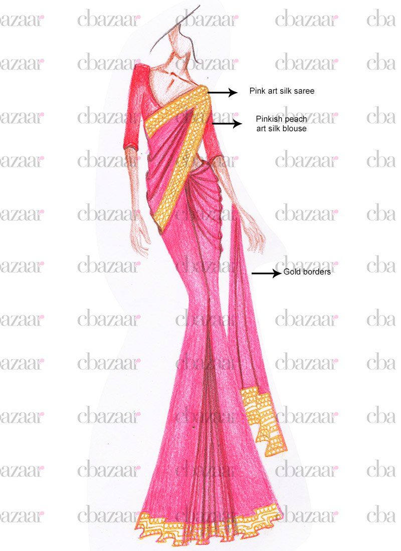 DIY Pink Art Silk Saree | Hintli Stil Tasarımı- India Stayle Desing ...