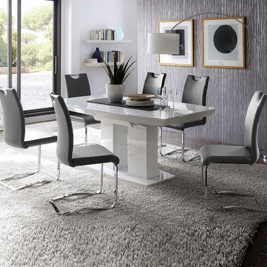 genisimo high gloss dining table with 6 grey koln chairs. beautiful ideas. Home Design Ideas