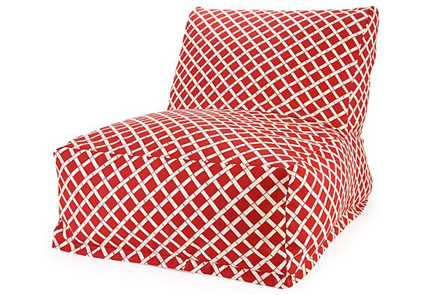 Outdoor Bamboo Beanbag, Red.