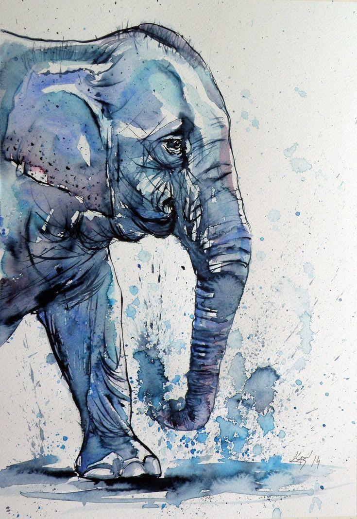 KÜNSTLER: Elefant von Kovács Anna Brigitta Aquarell mit Goldpigment. Oh