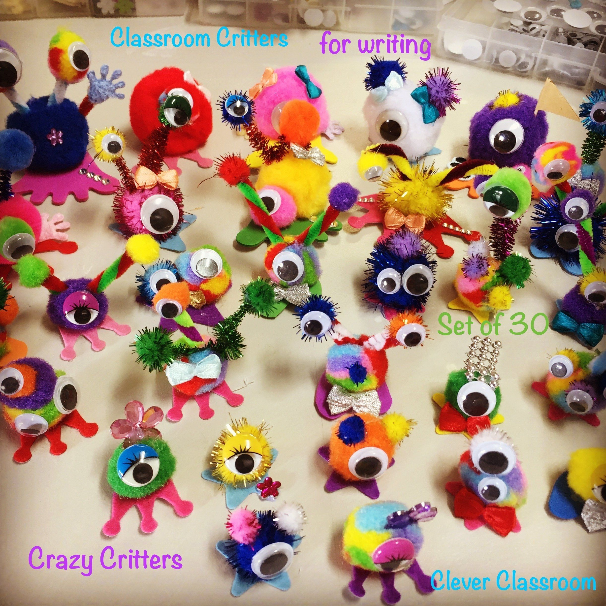 Classroom Crazy Critters - writing tool for early years - children tell the critter their story before they write #quietcritters